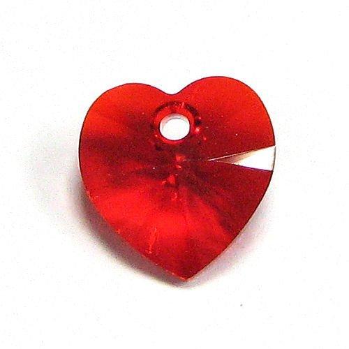 4 pcs Swarovski Xilion Crystal 6228 Heart Charm Pendant Light Siam 10mm / Findings / Crystallized ()