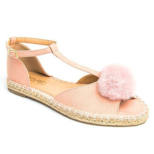 Suede Lightweight Pom Pom Women's Sandals Espadrille Flat BOUTIQUE SAPPHIRE Fluffy Toe Pink Shoes Open X8xqpFwSES