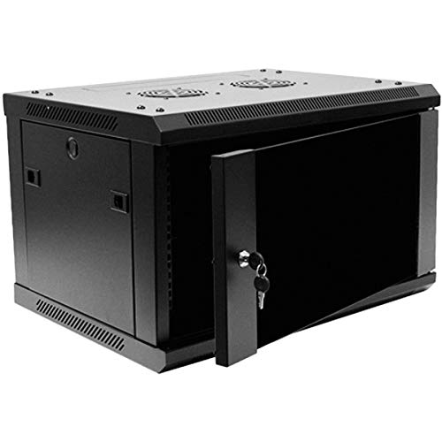 Navepoint 6U Deluxe IT Wallmount Cabinet Enclosure 19-Inch Server Network Rack With Locking Glass Door 16-Inches Deep Black