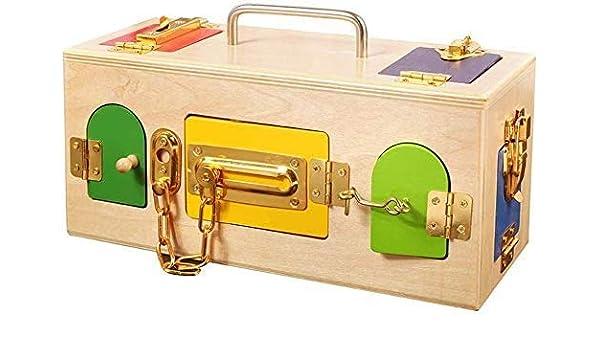 Juguetes educativos caja del tesoro juguetes educativos portátiles jardín de infantes/desbloqueo de cerradura caja de sala de estar especial juguetes de educación temprana para bebés: Amazon.es: Oficina y papelería