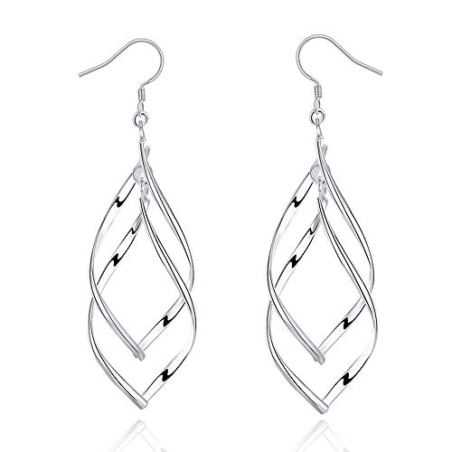 ARMRA Fashion Classic Silver Double Wave Loops Tassels Earrings ()