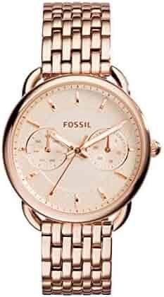 Fossil Women's Tailor Quartz Stainless Steel Dress Watch, Color Rose Gold-Tone (Model: ES3713)