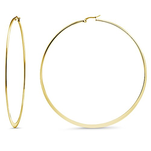 3.5 Inch Stainless Steel Yellow Gold Tone Flat Bottom Hoop Earrings (88mm Diameter) (Earrings Loop Round)