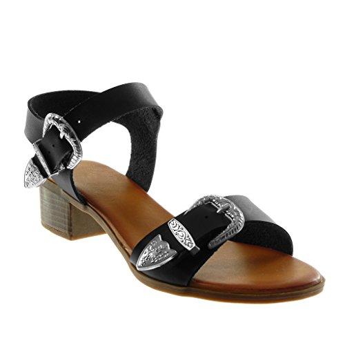 Fibbia Metallico Cm 4 Alto Sandali Perizoma Nero Caviglia Alla Donna Angkorly Cinturino Moda Tacco YwZTq4
