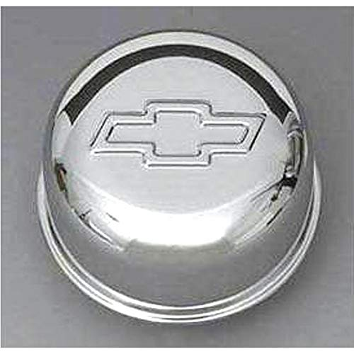 Eckler's Premier Quality Products 40171372 Full Size Chevy Intake Oil Fill Tube Breather Cap Chrome PushIn With Bowtie Logo