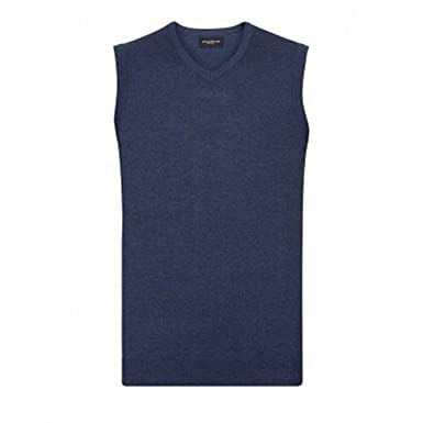 Sweater sin mangas cuello pico Modelo Knitted hombre caballero Jersey Russell Collection
