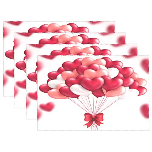 - Fengye Placemats Valentine Red Heart Kitchen Table Mats Resistant Heat Placemat for Dining Table Washable 1 Piece