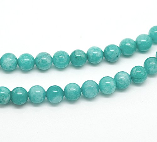1 Set(46 Pcs) Blue Round Amazonite Stone Gemstone Bead 8mm DIY Beads Beaded Charms - Blue Stone Beads