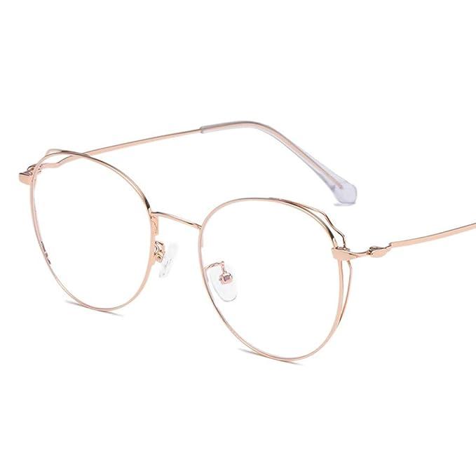 sensación cómoda buen servicio nuevo alto Marco redondo vintage anti-azul gafas de luz marco dorado ...