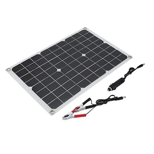 20 Watts Monocrystalline Solar Panel Lightweight Flexible Charger for Boat Car Power Supply 20W Black