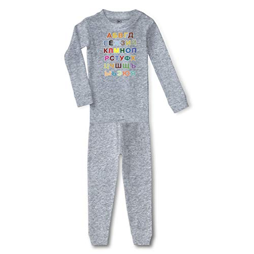 Russian Alphabet Cotton Crewneck Boys-Girls Infant Long Sleeve Sleepwear Pajama 2 Pcs Set Top and Pant - Oxford Gray, 3T
