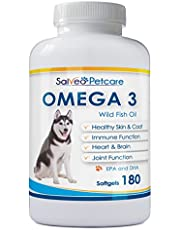 Omega 3 Fish Oil for Dogs - Natural Pet Supplement for Shiny Coat - Wild Caught More EPA & DHA Than Salmon Oil - 180 Capsules No Fishy Smell or Mess - Ideal for Medium Large Dogs