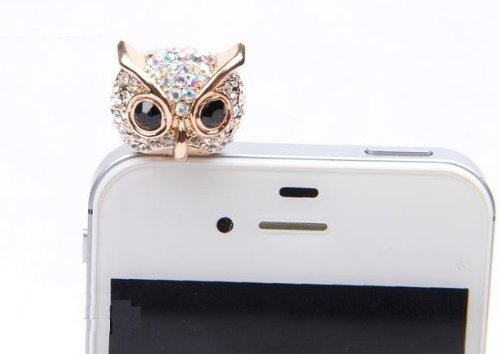 Wisedeal IKASEFU Bling Crystal 3.5mm Rhinestones Night Owl Pattern Cellphone Charms Anti-Dust Dustproof Earphone Audio Headphone Jack Plug Stopper for iPhone 4 4S Samsung Galaxy S2 S3 Note I9220 HTC Sony Nokia Motorola LG Lenovo (Cellphone Earphone Jack Accessory compare prices)