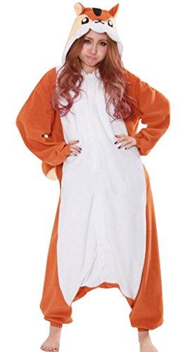 [Gillbro Anime Adult Animal Cosplay Costume Pajamas,Chipmunk,XL] (Disney Cartoon Mad Hatter Costume)
