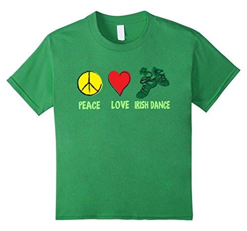 Kids Irish Peace Love Irish Dance T-shirt Patrick's Day 8 (Irish Step Dancing Costumes)