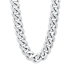 This 11mm rhodium plated chain offers a luxurious look and feel and comes with a complimentary full lifetime replacement guarantee. Available in a variety of short and long lengths for the perfect fit, each chain features rugged rhodium plate...