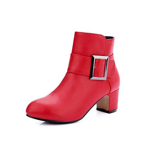 AllhqFashion Mujeres Sin cordones Puntera Redonda Tacón Medio Pu Caña Baja Botas Rojo