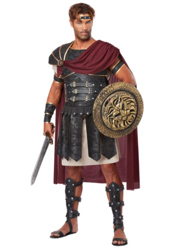 [California Costumes Men's Roman Gladiator Adult, Black/Burgundy, Large] (Greek Roman Costumes Halloween)
