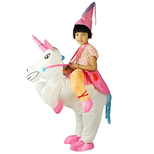 Riding Unicorn A Costume (Child Unicorn Inflatable Costume For Kids Riding Dress Up Halloween Chiristmas)