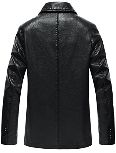 Button Trucker Fit Jacket Black Front Spread Men's Chouyatou Collar Natural Simple wx81Z7ZqI