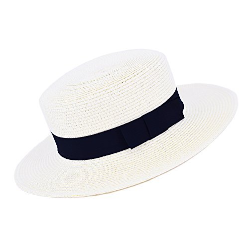 MATCH MUCH Straw Boater Hat (Off White Hat Wide Brim Bow Band) (Styrofoam Skimmer Hats)
