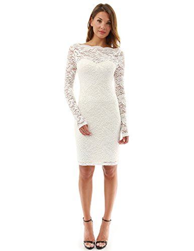 PattyBoutik Women Boatneck Sweetheart Floral Lace Dress (Off-White Large)