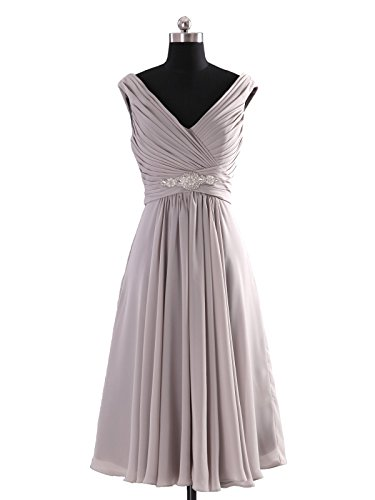COCOMELODY Women's A Line Short Beaded Chiffon Homecoming Dress 18 Grey