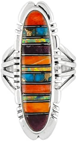925 Sterling Silver Ring with Genuine Turquoise and Semiprecious Gemstones Size 5 to 13