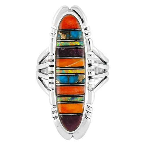 Multi Gem Ring (Sterling Silver Ring with Genuine Turquoise & Gemstones (SELECT color) (Multi-00, 10))