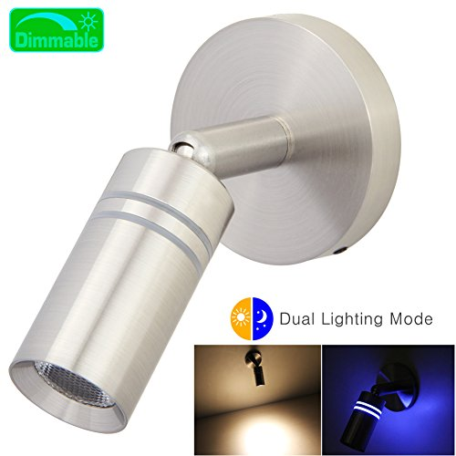 12V Reading Light, RV Boats LED Reading Lamp Dual Lighting Mode Directional Lighting with Dimmable Touch Switch Brushed Nickel, Hard-wired (12v Flexible Reading Light)
