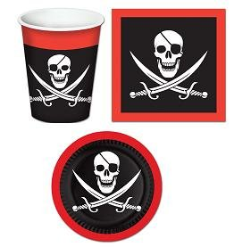 Pirate Themed Table Ware Set/Pirate Plates/Pirate Napkins/Pirate Beverage Cups/Pirate Party Supplies -