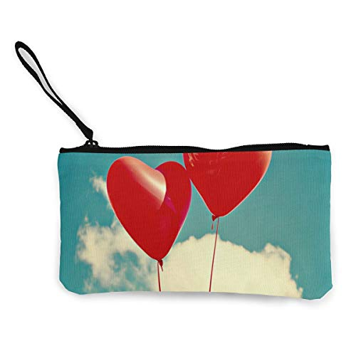 Coin Purse Red Balloon in Sky Men Zip Canvas Small Purse ChangeHot Holder