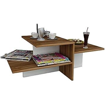 Whisper Table Basse De Salon Blanc Noyer Table De Canape Bout De Canape Table Cafe Moderne Dans Un Design A La Mode