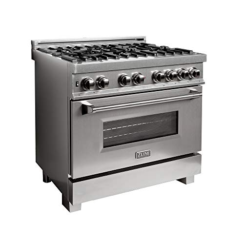 ZLINE 36 in. Professional Dual Fuel Range in Snow Stainless with Snow Stainless Door (RAS-SN-36)