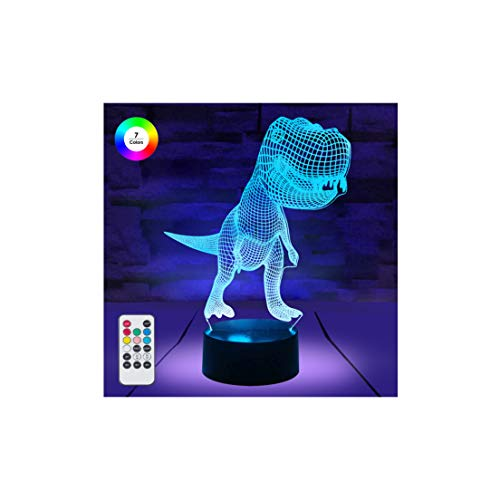 [ 7 Colors/3 Working Modes/Timer Function ] Remote and Touch Control Tyrannosaurus/Dinosaur Night Lights, Dimmable LED Bedside Lamp for Children and Kids Room