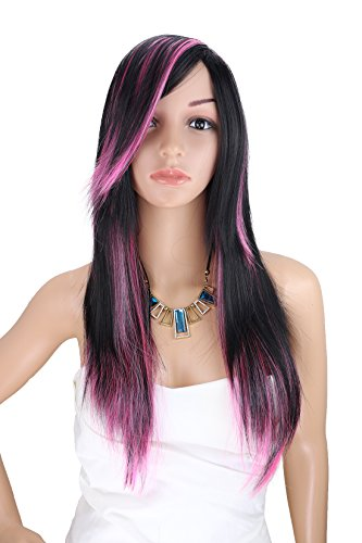 Kalyss Women's 26 inches Heat Resistant Synthetic Black and Pink Cosplay Hair (Black And Pink Wig)