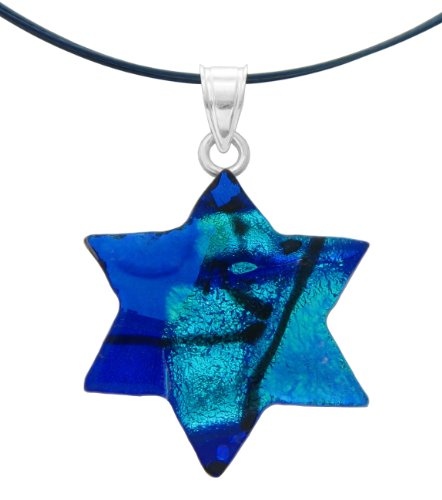 Sterling Silver Dichroic Glass Blue Star Of David Pendant Necklace on Stainless Steel Wire- 18