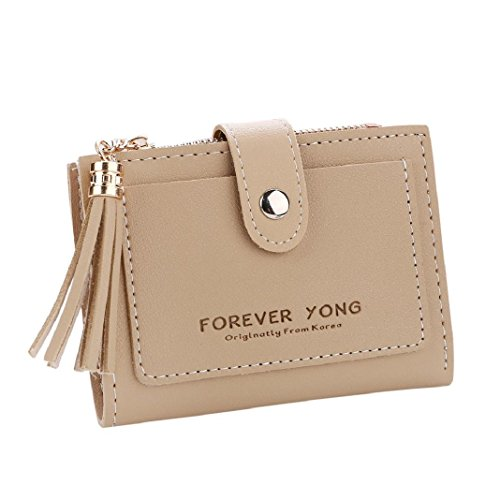 Purse Wallet ShenPr Handbag Khaki Holders Women Letters Clearance Coin Zipper Card Short Tassel wgq6Rx8