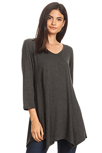 Womens V-Neck Long Sleeve Pleats Tunic Dress Top/Made In USA Charcoal XL by HEO CLOTHING