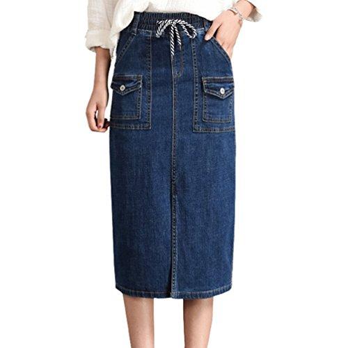 Poche Bleu Mode lastique Jupe Denim Loose Drawstring Front Femme Divis Unie Couleur Yuanu Taille Personnalit Jupe Droit xfaPwAq
