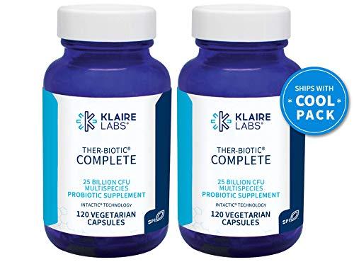 Klaire Labs Ther-Biotic Complete Probiotic - 25 Billion High CFU Blend, The Original Hypoallergenic Probiotic for Men & Women, Dairy-Free (120 Capsules, 2 Pack)