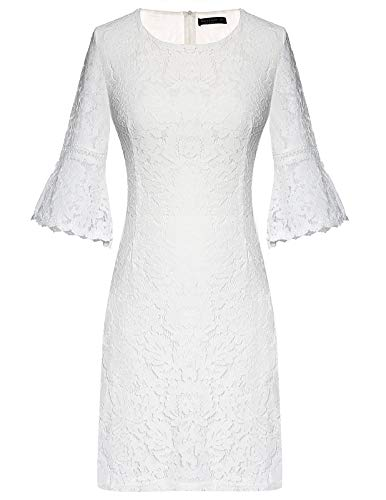 Womens Bell Sleeve A Line Lace Stitching Trim Crochet Dress White Small ()