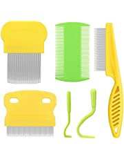 Cat Comb Dog Comb Fine Tooth Comb Pet Grooming Set for Flea Comb Lice Combs Grooming and Removing Dandruff Flakes Remove Float Hair Tear Marks (Yellow)