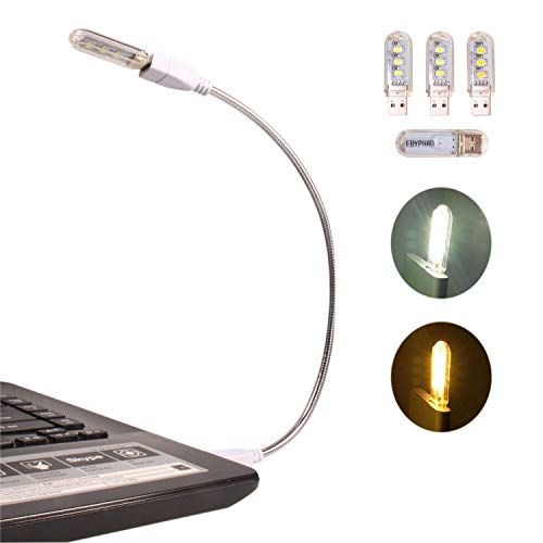 EBYPHAN Modern USB LED Lamp, Computer Keyboard Light for Laptop, Flexible Gooseneck Tube + Stylish Detachable Lampshade with 4 Mixed USB LED Lights (2 White + 2 Yellow)