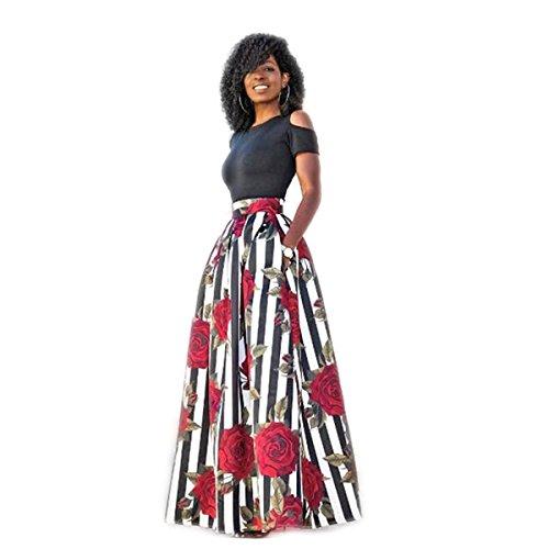KOLY Donna Gonna a ruota larga con stampa floreale attillata Vestito da cocktail in due pezzi Elegante Vestiti Abito Senza Spalline Vestito Slim Fit Manica Corta Abiti da Sera Sexy Rosso