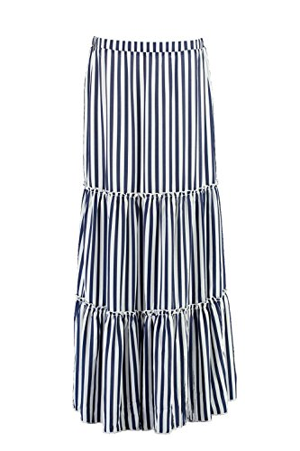 Striped Woven Skirt (Boohoo Womens rayah Striped Ruffle Layered Woven Maxi Skirt In Navy Size 6)