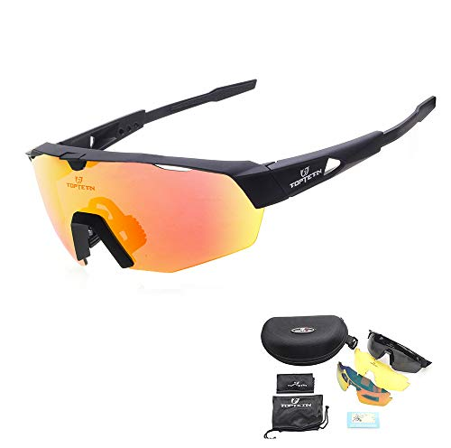 TOPTETN Polarized Sports Sunglasses with Interchangeable Lenes for Men Women Cycling Running Driving Fishing Golf Baseball Glasses ()