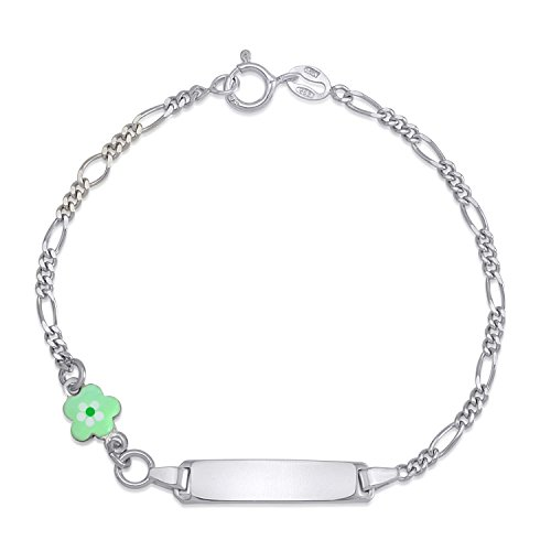 (UNICORNJ Childrens Sterling Silver 925 ID Bracelet Figaro Chain Cute Flower with Light Green Enamel 6.5