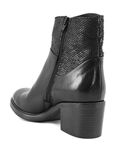 CAFè NOIR FE116 nero scarpe donna stivale tronchetto zip tacco 35