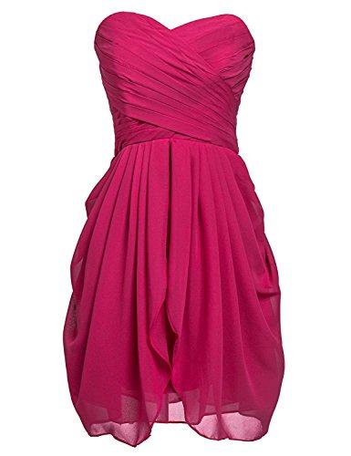 Trägerloses Dunkelrosa Kleid CoutureBridal® Chiffon Abendkleid Kurzes Damen Cocktailkleider wwPaT4q